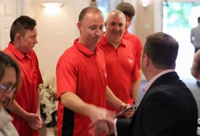 Metting Gary Plummer, owner or Target Darts